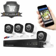4 kamerás kül-és beltéri vezetékes AHD kamerarendszer
