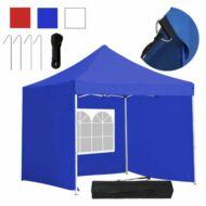 Kerti pavilon összecsukható 3 fallal hordtáskával 3x3m kék HOP1000807-1