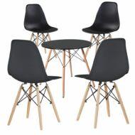 4 db modern étkezőszék asztallal fekete HOP1001107-1