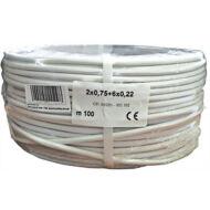 Erősített biztonságtechnikai kábel 2 x 0.75 + 6 x 0.22 réz 116708