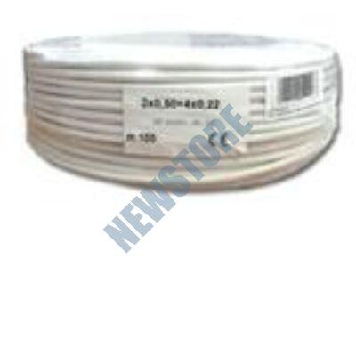 Erősített 2x0.5+4x0.22 eres biztonságtechnikai kábel