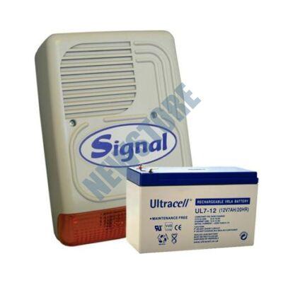 SIGNAL PS-128A + 7Ah akku Kültéri hang és fényjelző PS128A 113777