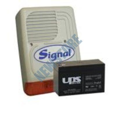 SIGNAL PS-128A + 7 Ah akkumulátor Kültéri hang-fényjelző szabotázsvédett fémházban PS128A