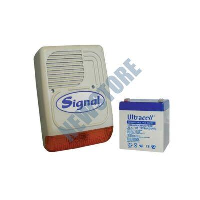 SIGNAL PS-128A + 4 Ah akkumulátor Kültéri hang-fényjelző szabotázsvédett fémházban PS128A