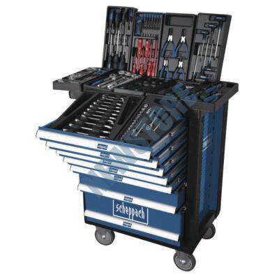 Scheppach TW 1000 műhelykocsi szerszámokkal 7 fiókos 263 db-os TW1000