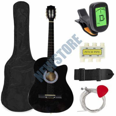 Akusztikus gitár szett kezdőknek ajándék hangolóval fekete HOP1000982-1