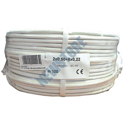 Erősített biztonságtechnikai kábel 2 x 0.5 + 8 x 0.22 102711